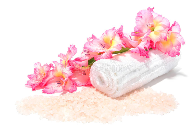 Aromatherapy Bath Salts and Flowers in a Spa royalty free stock photo