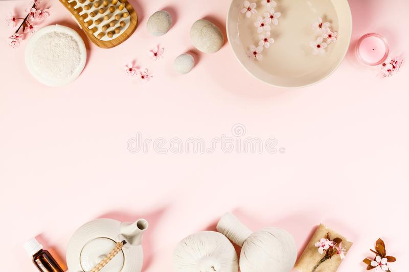 SPA settings on pink background stock image
