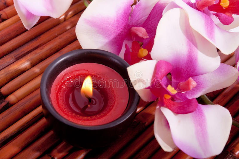 aromatherapy candle flower orchid spa στοκ εικόνες