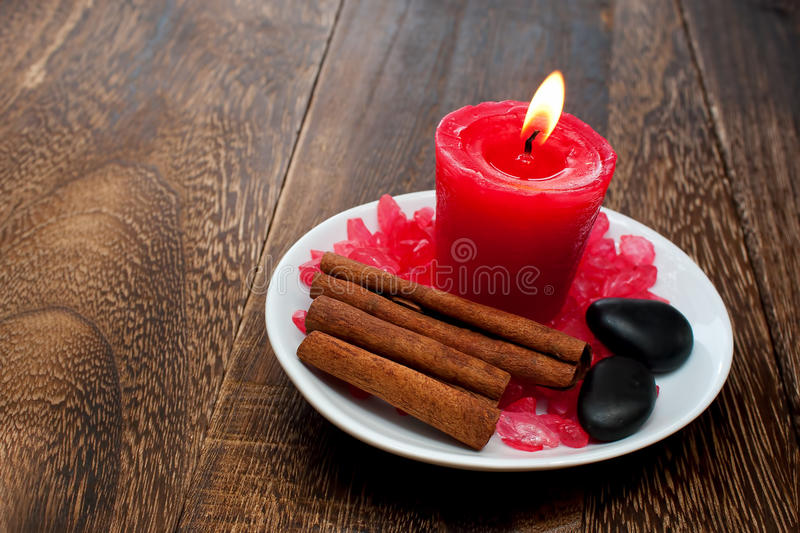 Aromatherapy Candle for relaxation spa and wellnes royalty free stock images
