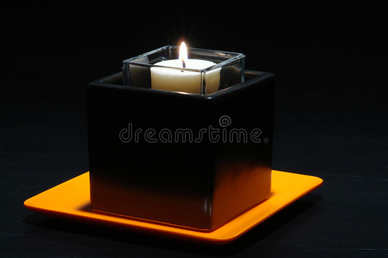 Aromatherapy Candle in Stylish Contemporary Holder stock images