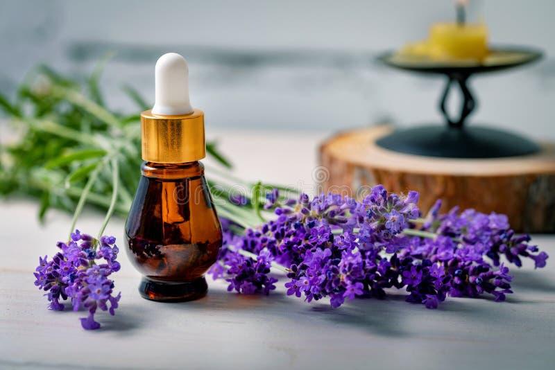aromatherapy - de fles van de lavendeletherische olie met verse bloemtakjes stock afbeelding
