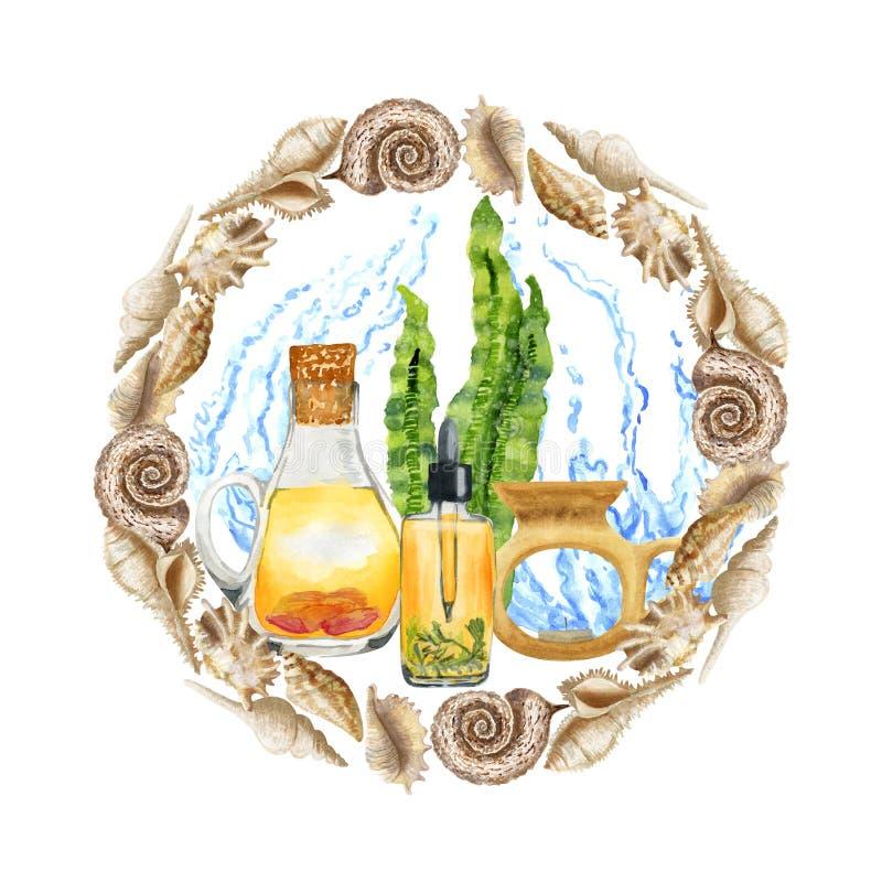 Aromatherapy de STATION THERMALE d'aquarelle réglé avec de l'eau dans le cadre de coquillage illustration de vecteur