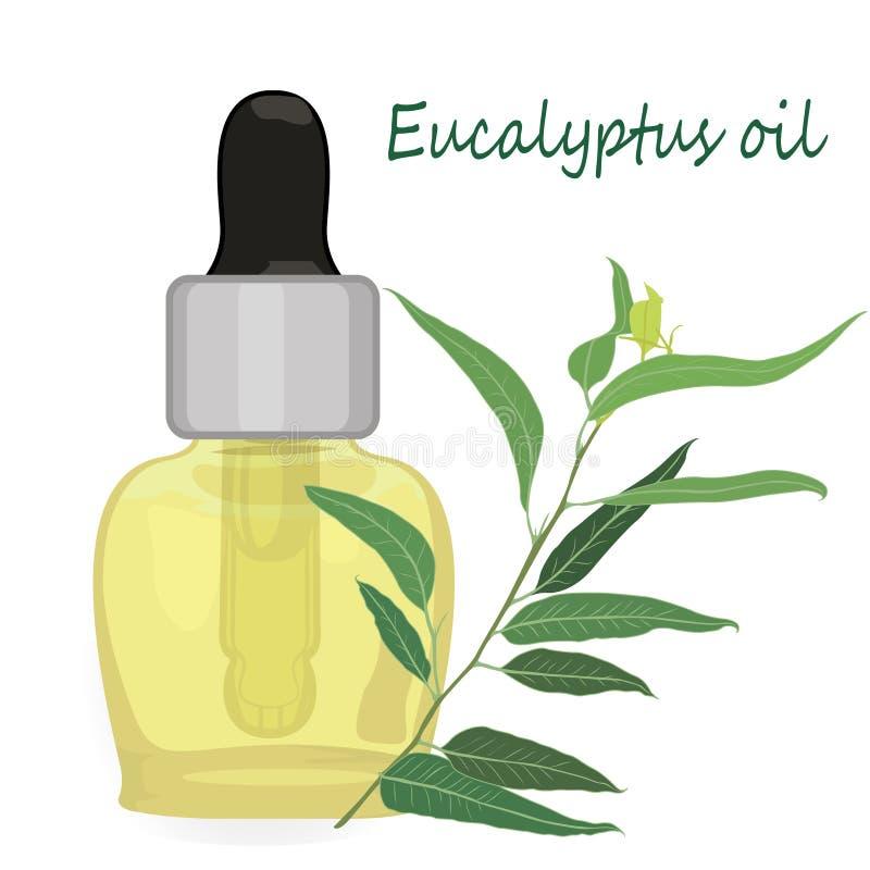 Aromatherapy del ejemplo del vector del aceite esencial del eucalipto stock de ilustración