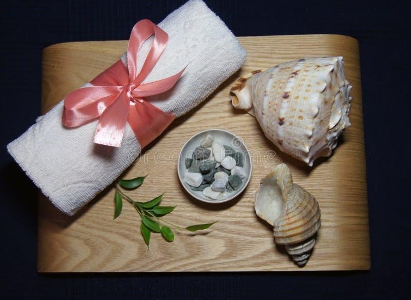 Aromatherapy en balneario con la toalla rosada, la hoja verde, la vela y la cáscara imágenes de archivo libres de regalías