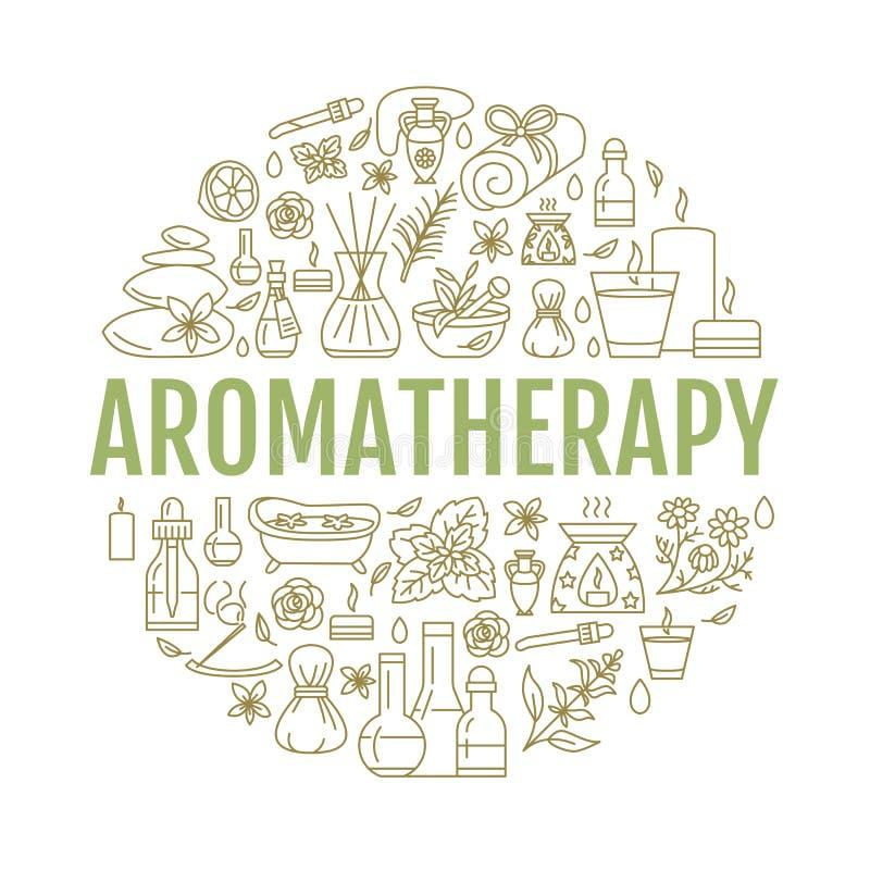 Aromatherapy en van de etherische oliënbrochure malplaatje vector illustratie