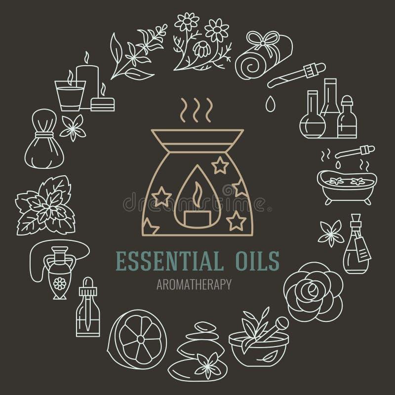 Aromatherapy en van de etherische oliënbrochure malplaatje Vectorlijnillustratie van aromatherapy verspreider, oliebrander, kuuro vector illustratie