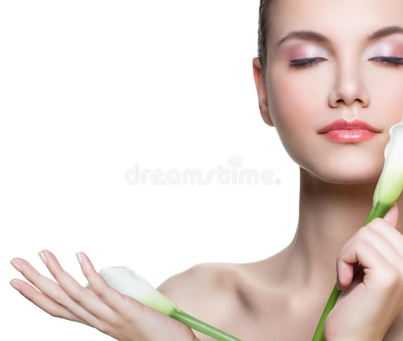 Aromatherapy, facial treatment, skincare and spa concept. Young woman relaxing isolated on white background stock images