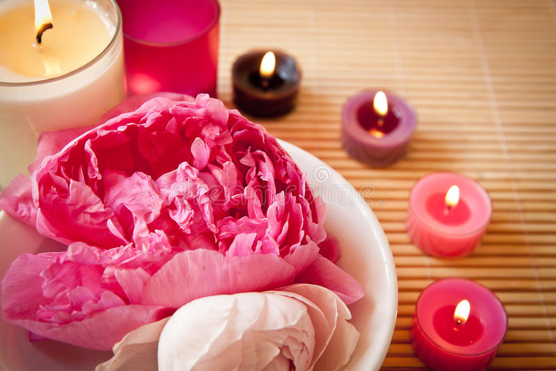 Aromatherapy flowers and candles, landscape stock images