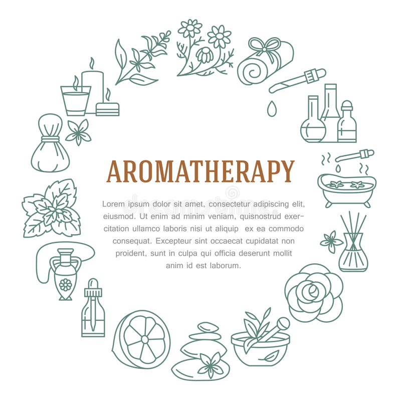 Aromatherapy i istotnych olejów okręgu szablon Wektorowa kreskowa ilustracja aromatherapy dyfuzor, nafciany palnik, zdrój świeczk