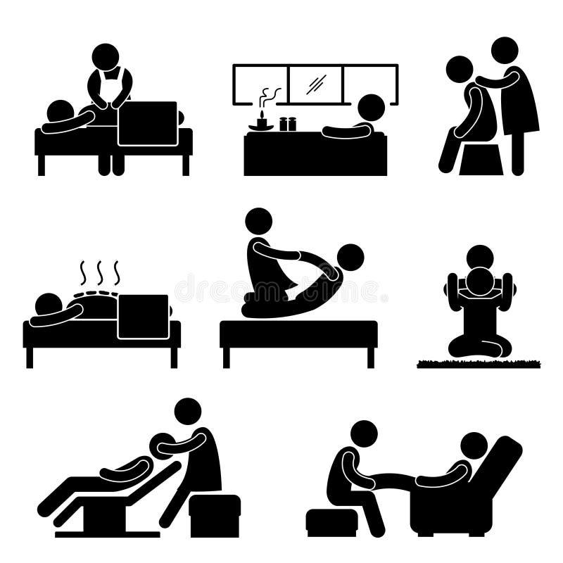 aromatherapy ikony masażu zdroju terapii wellness royalty ilustracja