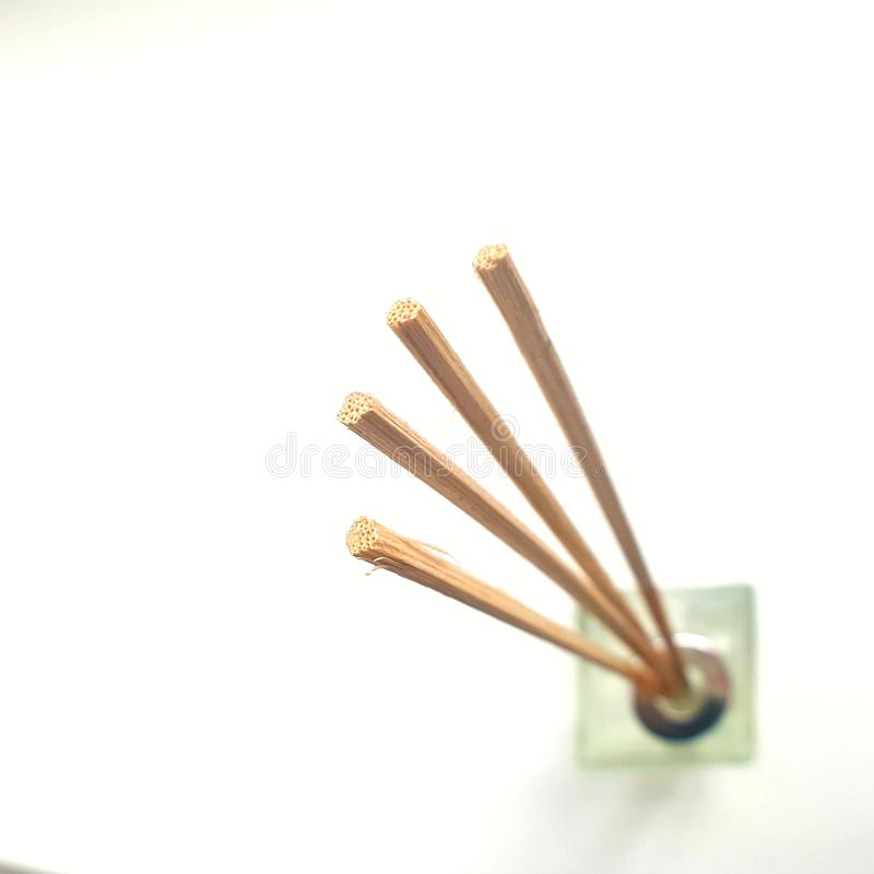 Aromatherapy insence sticks for essential oil. flatlay isolated on white. stock image