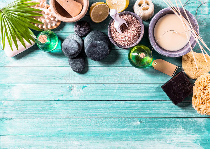 Aromatherapy items arranged in background royalty free stock images