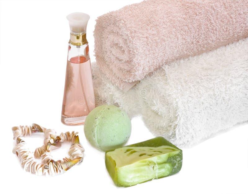 Aromatherapy kuuroord en handdoeken royalty-vrije stock foto