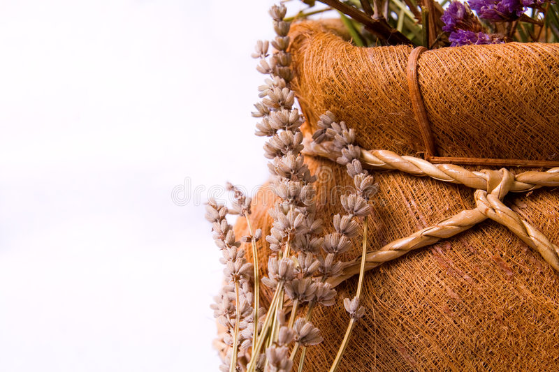 Download Aromatherapy: Lavender Flowers And Basket Stock Image - Image: 9204839