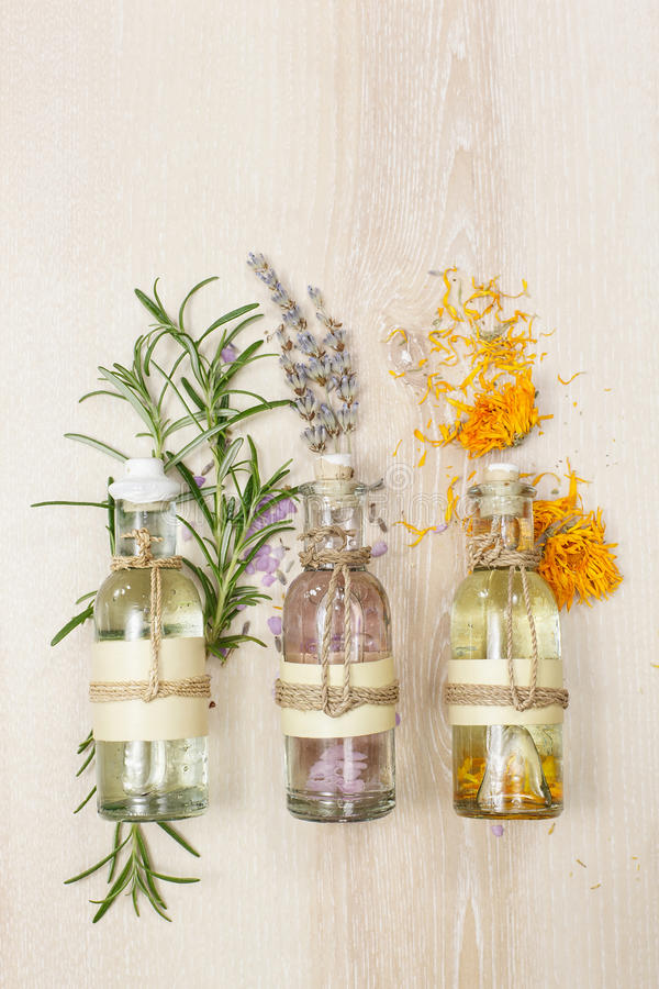 Aromatherapy massage oils royalty free stock image