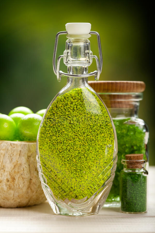 Aromatherapy minerals. Green bath salt - aromatherapy minerals stock photo