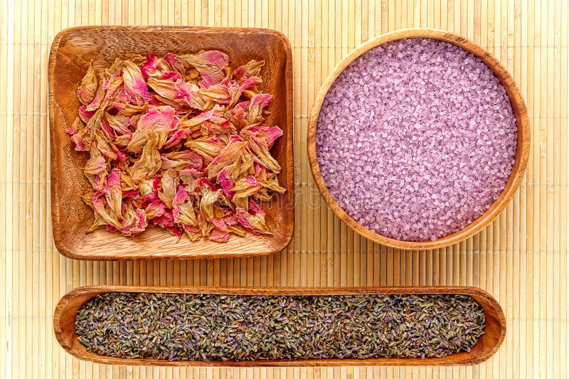 Aromatherapy Natural Ingredients with Lavender royalty free stock photography