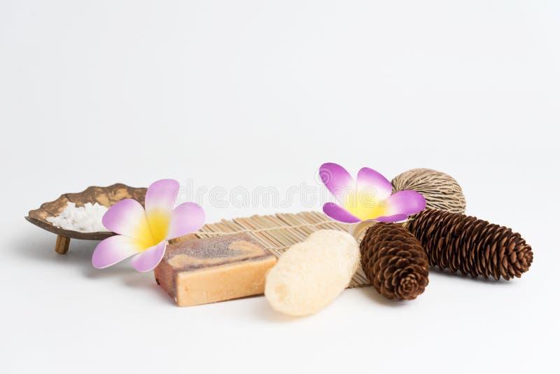 Aromatherapy produktu zdroju set, świeczka, mydło, koks, kwiat, shel fotografia royalty free