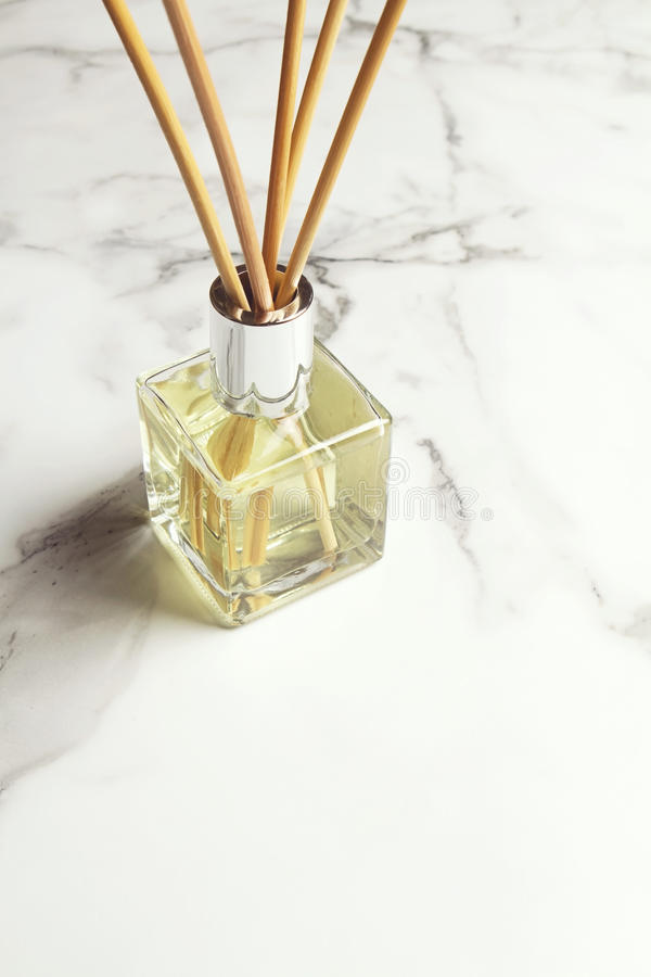 Aromatherapy reed diffuser air freshener with text space below stock photo