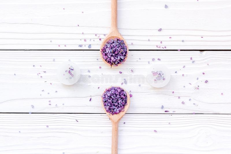 Aromatherapy for relax concept. Lavender spa salt and candles on white background top view royalty free stock images