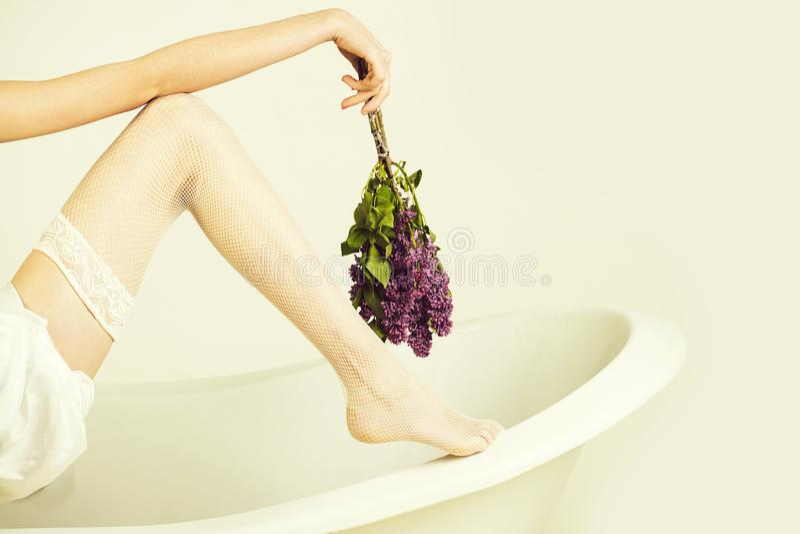 Aromatherapy, SPA εσώρουχο μόδας ιώδες λουλούδι, πόδι στη γυναικεία κάλτσα διχτυών ψαρέματος και χέρι με τη δέσμη στοκ φωτογραφία με δικαίωμα ελεύθερης χρήσης