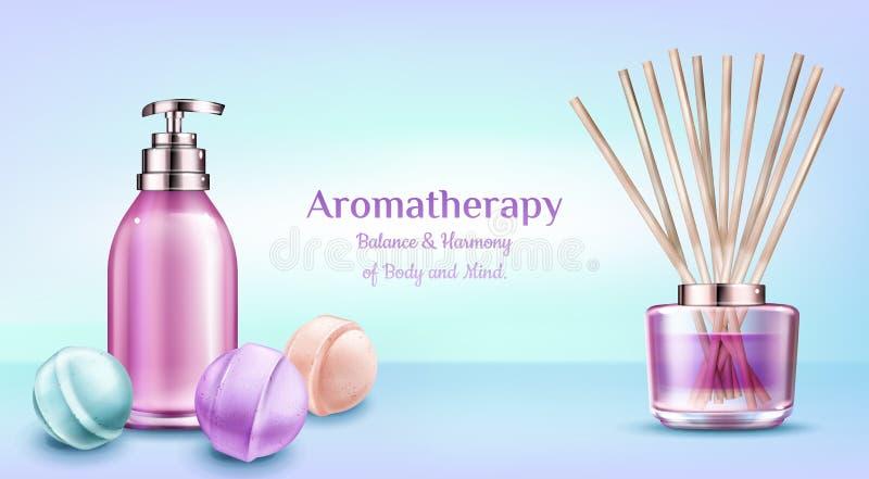 Aromatherapy spa banner van de behandelings de kosmetische schoonheid royalty-vrije illustratie