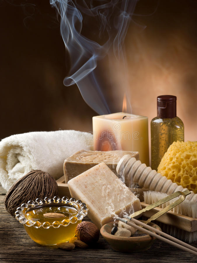 Aromatherapy and spa concept. On wood background royalty free stock images
