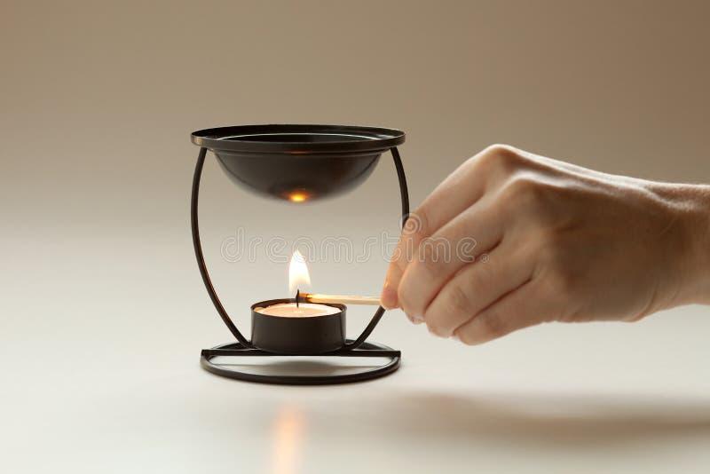 aromatherapy stearinljuslighting royaltyfria foton