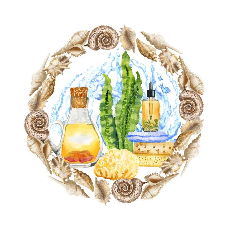 Aromatherapy tiré par la main de STATION THERMALE d'aquarelle réglé avec de l'eau dans le cadre de coquillage illustration libre de droits