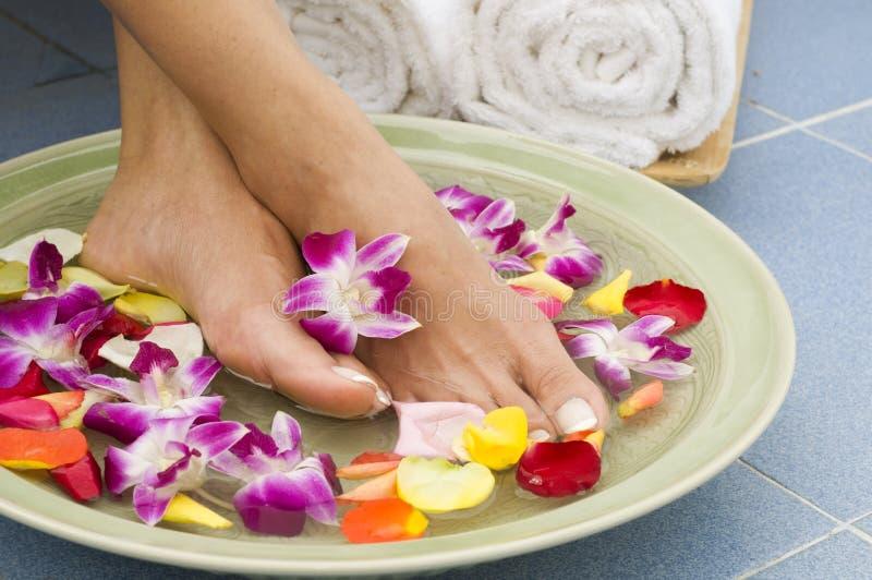 Aromatherapy Wasserbadekurort für Füße lizenzfreie stockbilder