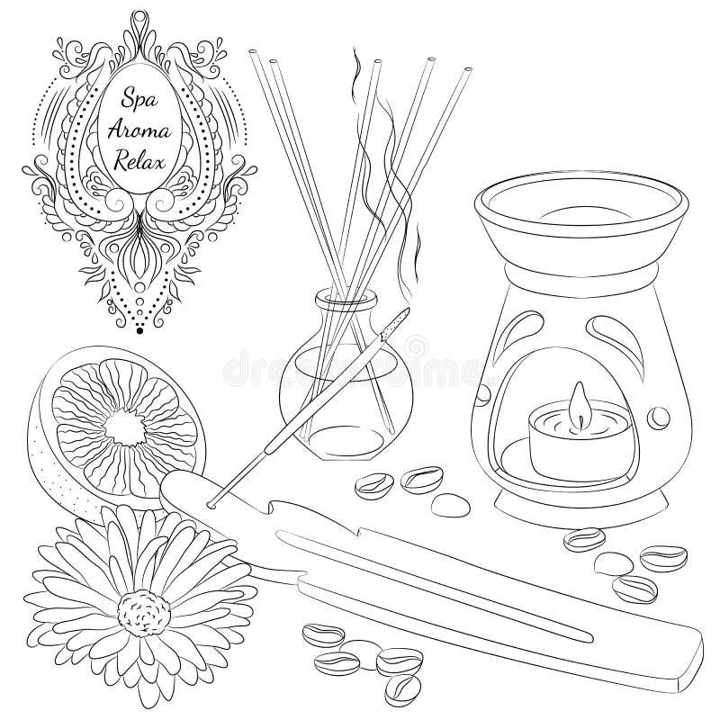 Aromatherapylinje konst vektor illustrationer