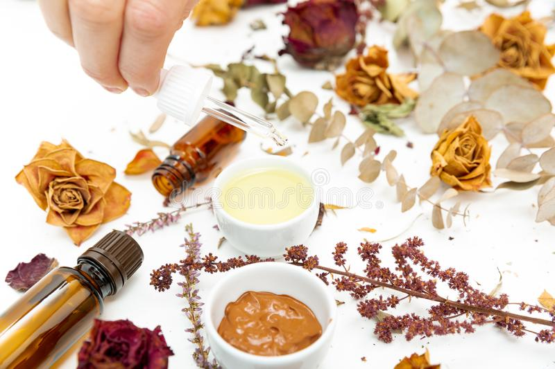 Aromatic botanical cosmetics. Dried herbs flowers mixture, facial mud clay mask, oils, applying brush. Holistic herbal skincare. Beauty hack royalty free stock photography