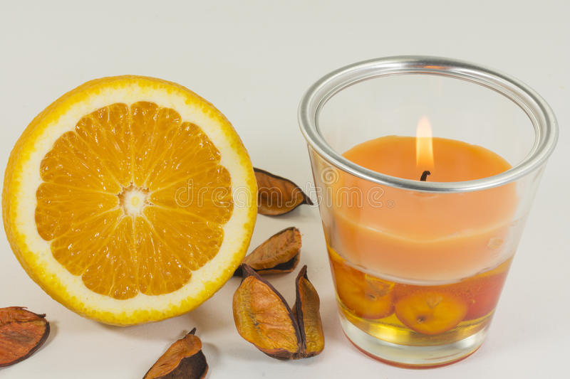 Aromatic candle. For home with orange odor stock photography