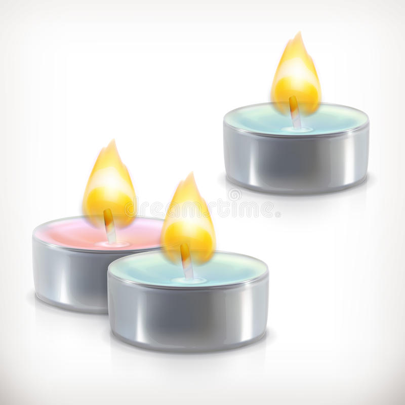 Aromatic candles icons. Aromatic candles, vector icons, isolated on white background stock illustration