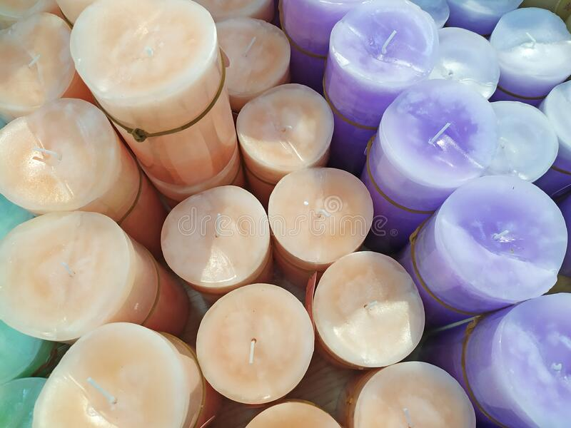 Aromatic candles in a shop for sale stock photo