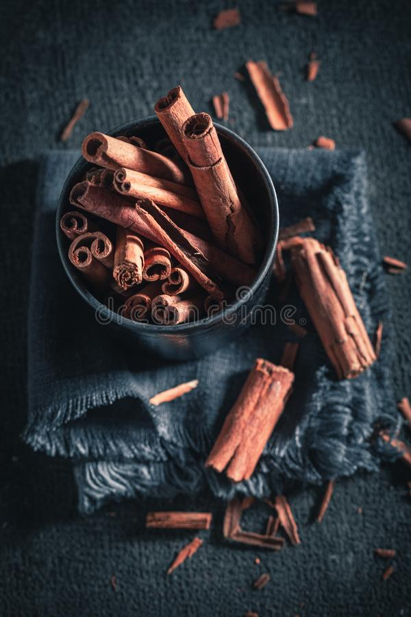 Aromatic cinnamon sticks made of butter and sugar stock photos
