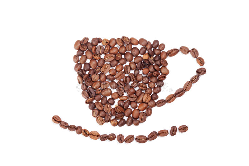 Aromatic Coffee Beans Cup On White Royalty Free Stock Image