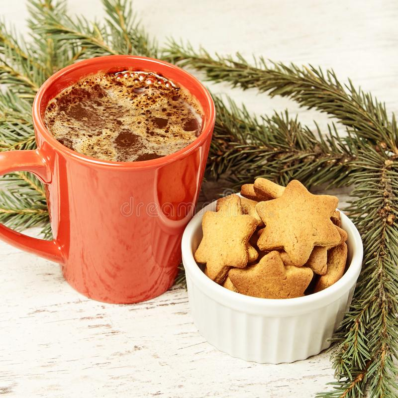 Aromatic coffee. New Year. Gingerbread Cookie.Recipe.  stock photo