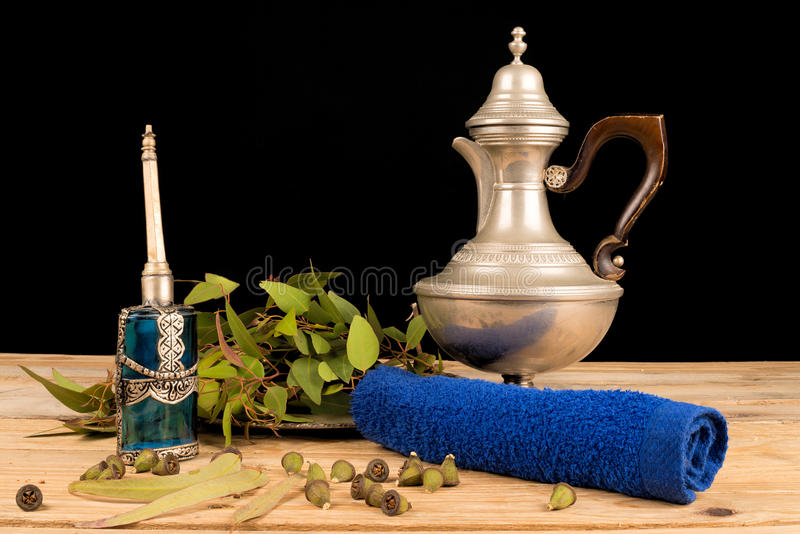 Aromatic eucalyptus on table royalty free stock photo