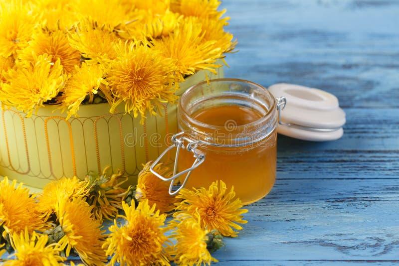 Aromatic fresh sweet honey from dandelions royalty free stock image