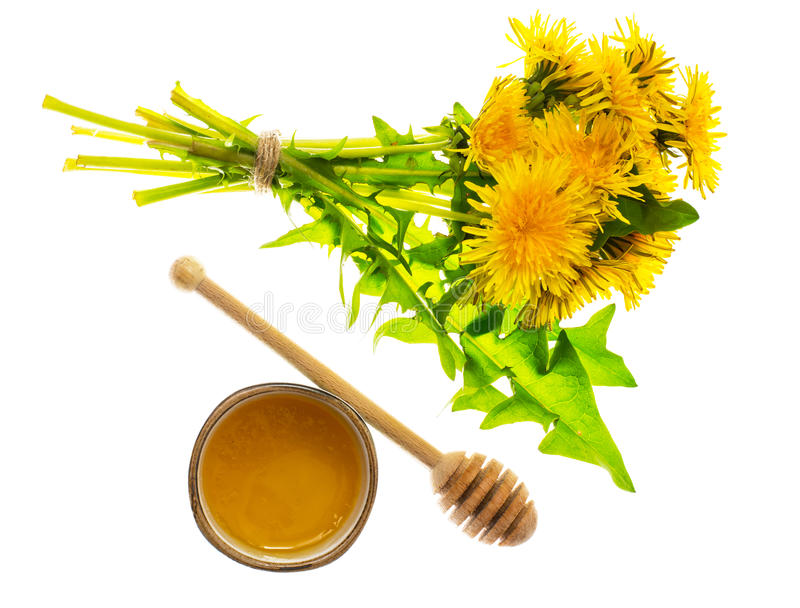 Aromatic fresh sweet honey from dandelions. Studio Photo royalty free stock images