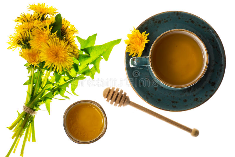 Aromatic fresh sweet honey from dandelions. Studio Photo stock images