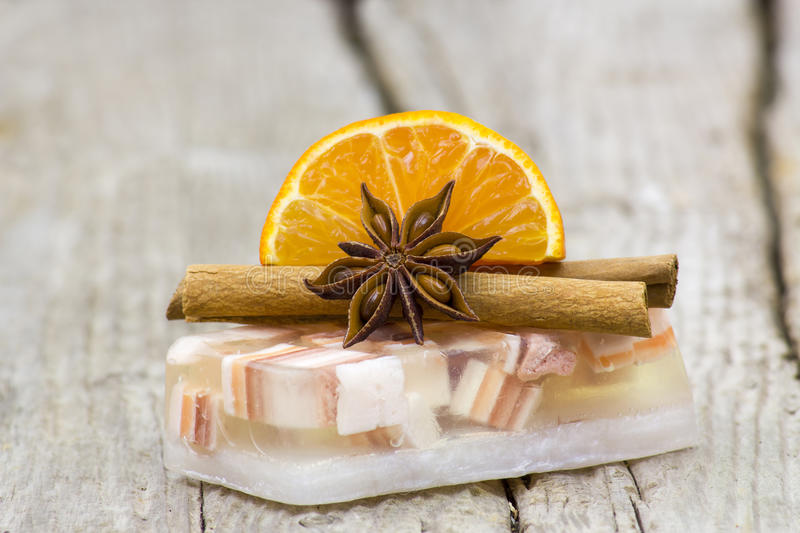 Aromatic glycerin soap, orange and spices stock photos
