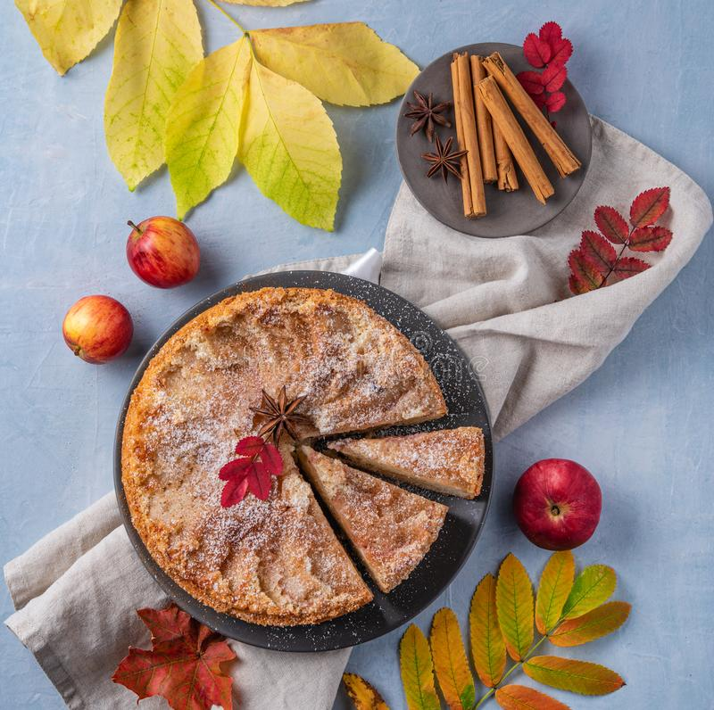 Aromatic homemade apple pie with red apple and cinnamon on wood blue table autumn. Top view royalty free stock image