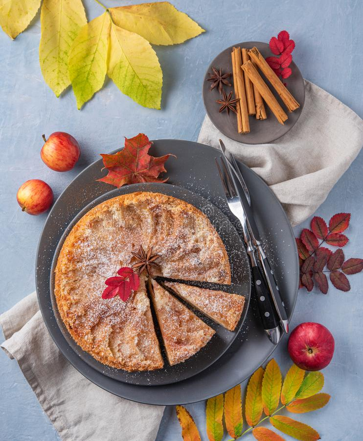 Aromatic homemade apple pie with red apple and cinnamon on wood blue table autumn. Top view royalty free stock photos