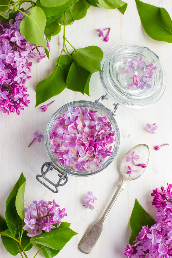 Free Aromatic Lilac Sugar On Jar Royalty Free Stock Image - 55203916