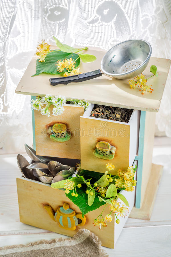 Aromatic linden tea with honey. On old wooden table stock images