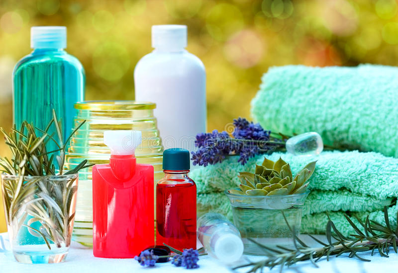 Aromatic oils and essential oil stock images