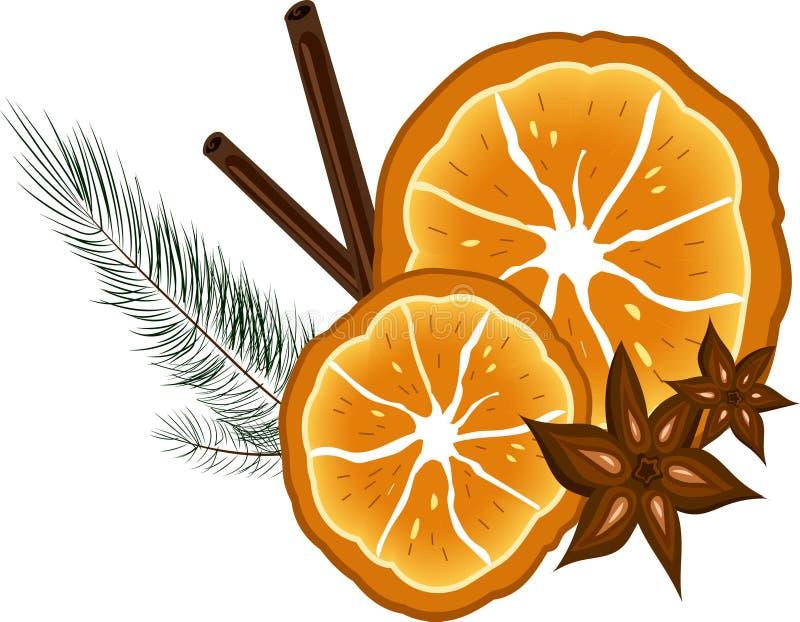 Aromatic orange. Aromatic christmas orange with cinnamon and star-anise stock illustration